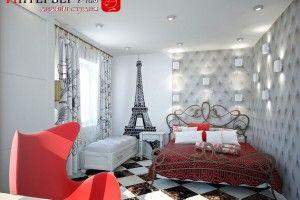дизайн спальни в стиле Париж