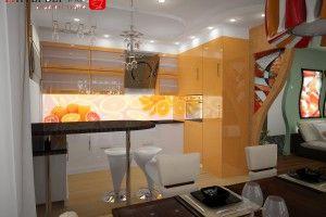 дизайн оранжевой кухни