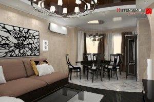 дизайн гостиной совмещенной со столовой