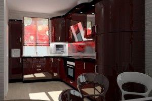 угловые кухни с радиусными фасадами