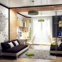 зонирование с помощью стеновых покрытий