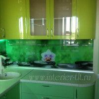 зеленая угловая кухня с фартуком из стекла и фотопечатью