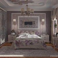 классическая спальня в сиреневом цвете