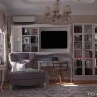 дизайн спальни с библиотекой