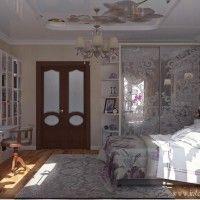 спальня с фотопечатью на потолке