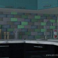 стеклянная плитка кирпичики на фартуке кухни