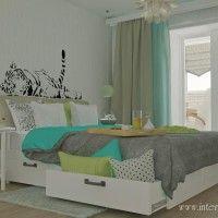 голубая спальня для молодой пары