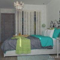 бирюзовая спальня с тигром