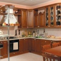 классические угловые кухни с барной стойкой фото