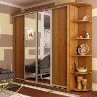 корпусной комбинированный шкаф-купе с двумя зеркальными дверями