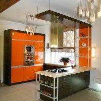 кухня остров оранжевая зебрано