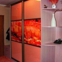 комбинированный шкаф-купе в прихожую лдсп фотопечать радиусные полки