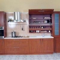 прямая кухня с пленочными фасадами под дерево со шкафом