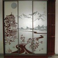 трехдверный шкаф-купе в прихожую в японском стиле