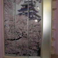 прямой шкаф-купе 3 двери фотопечать сакура в цвету