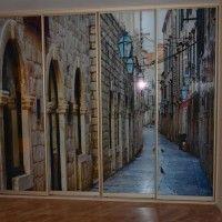 прямой шкаф-купе две двери фотопечать улицы старого города