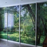 прямой шкаф купе 4 двери фотопечать зеленый лес