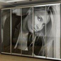 шкаф купе 5 дверей черно-белая фотопечать
