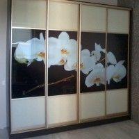 прямой четырехдверный шкаф-купе фотопечать орхидеи