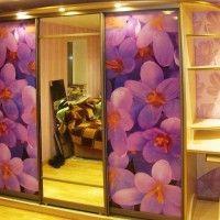 трехдверный шкаф-купе с фотопечатью орхидеи