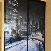 прямой двухдверный шкаф купе фотопечать ночной город