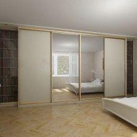 встроенный шкаф купе 2 двери белые 2 зеркальные боковые секции