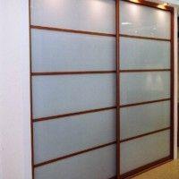 встроенный шкаф купе 2 двери матовое стекло с перемычками