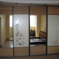встроенный комбинированный шкаф купе 2 зеркальные двери 2 с пескоструем
