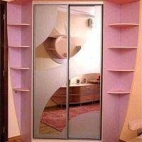угловой розовый шкаф-купе 2 зеркальные двери