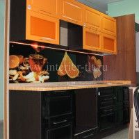 оранжевые кухонные гарнитуры с фотопечатью